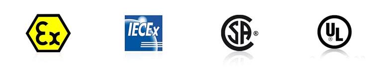 Das sensear KG530 ist für folgende Sicherheitsstandards zertifiziert: ATEX, IECEX, CSA, UL